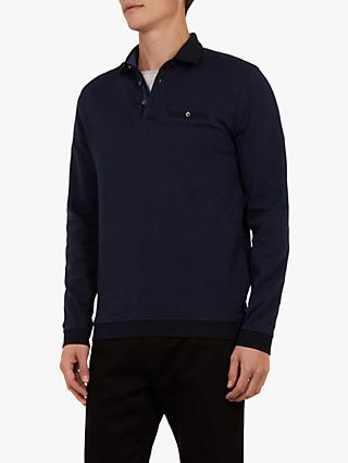 Ted Baker Meal Long Sleeve Jacquard Polo Shirt, Mid Blue