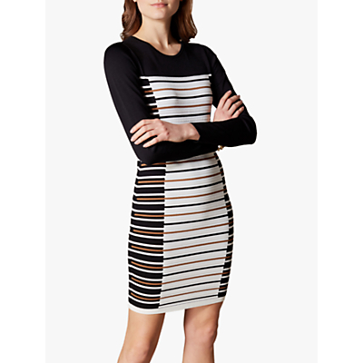 Karen Millen Striped Bodycon Dress, Black/White