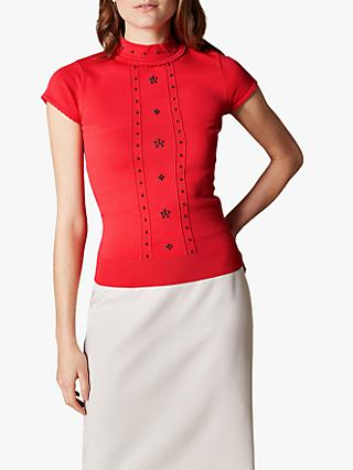 Karen Millen Embellished Knit Top, Red