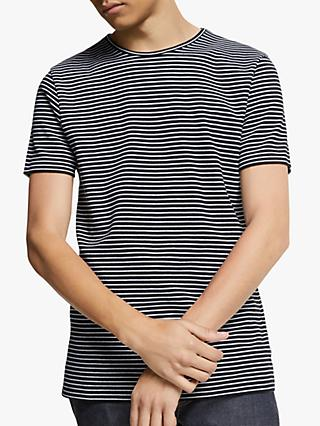 Wax London Finham Stripe T-Shirt, Black/White Stripe