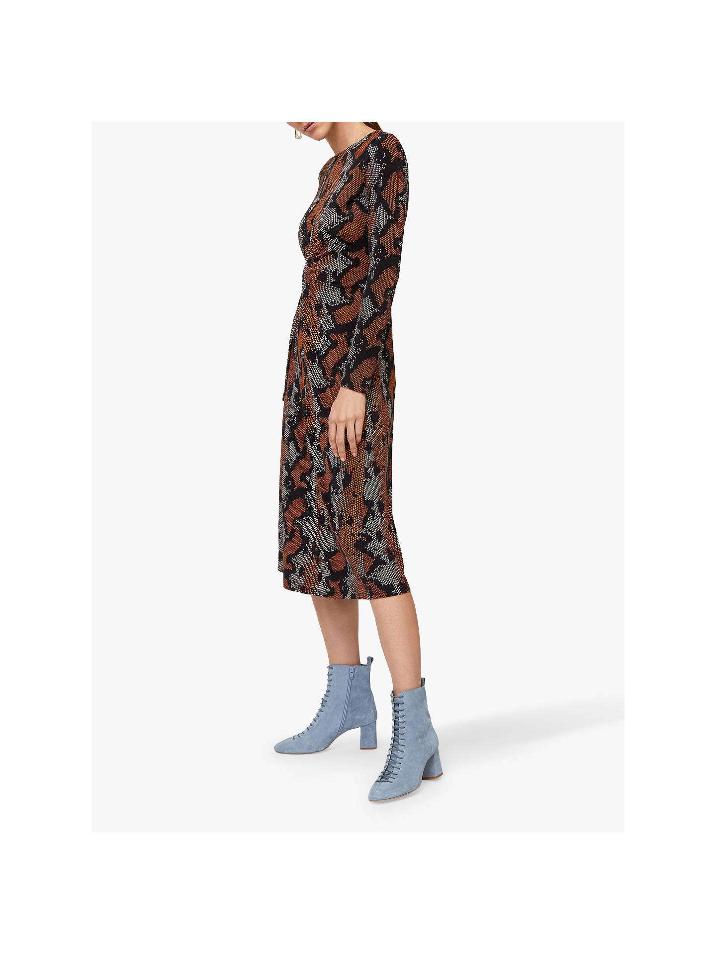 Warehouse Snake Print Midi Dress, Brown at John Lewis & Partners