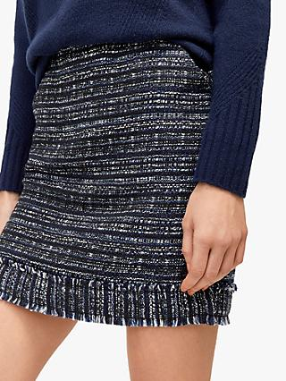 Warehouse Tweed Mini Skirt, Navy