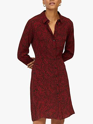 Warehouse Leopard Shirt Dress, Red Pattern