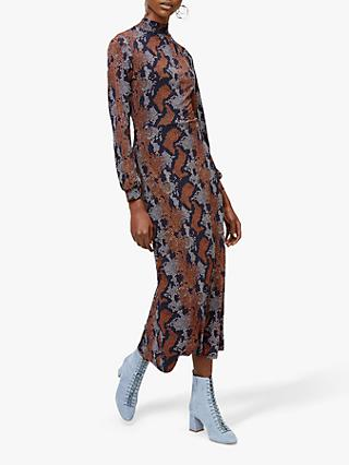 Warehouse Snake Print Maxi Dress Brown Multi