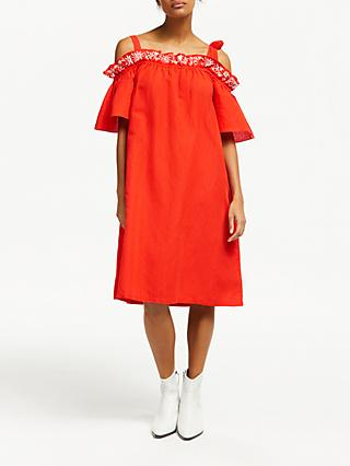 AND/OR Simone Ruffle Cold Shoulder Dress, Bright Red
