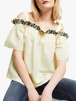 Buy AND/OR Duffy Linen Cotton Embroidered Cold Shoulder Top, Ivory, 12 Online at johnlewis.com