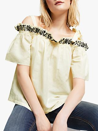 AND/OR Duffy Linen Cotton Embroidered Cold Shoulder Top, Ivory