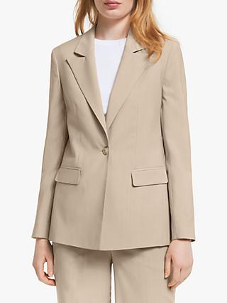 John Lewis & Partners Single Breasted Longline Blazer, Neutral