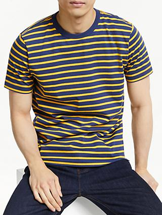 6244c369 John Lewis & Partners Breton Stripe Marl Cotton T-Shirt, Golden Rod