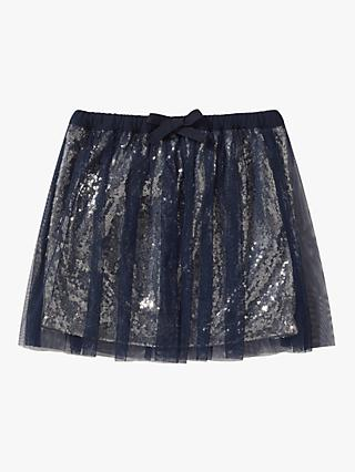 Jigsaw Girls' Tulle Sequin Skirt, Navy