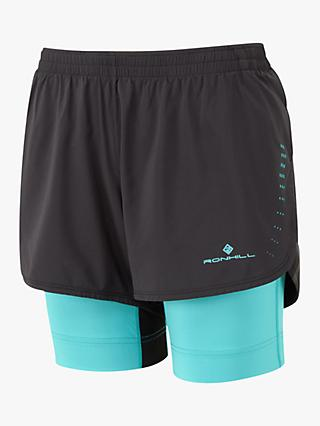 Ronhill Infinity Marathon Twin Running Shorts, Black/Blue