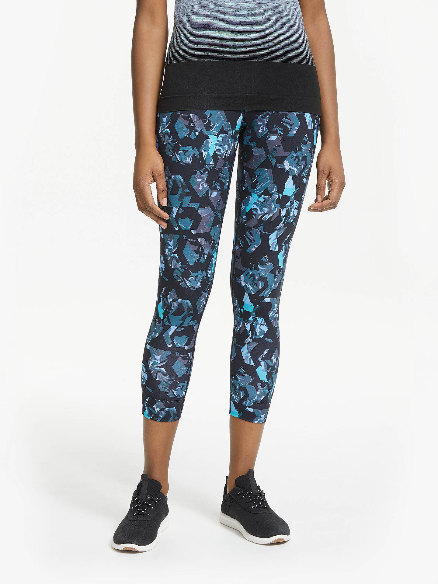 06c570b82ec335 Buy Ronhill Momentum Cropped Running Tights, Blue/Multi, 10 Online at  johnlewis.