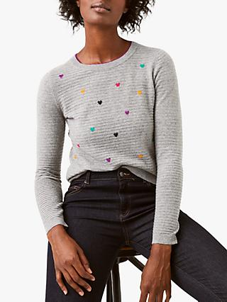 White Stuff Dancing Hearts Jumper, Light Grey Marl