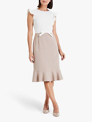 Phase Eight Stella Bow Detail Dress, Ivory/Latte