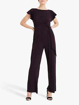 Phase Eight Ella Tie Side Jumpsuit, Blackcurrant