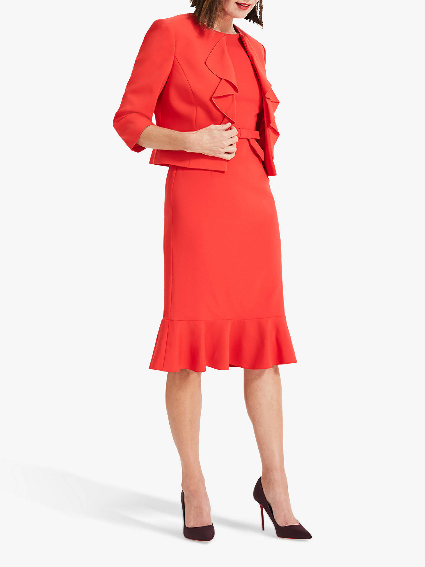 Buy Phase Eight Stella Frill Jacket, Vermilion Red, 18 Online at johnlewis.com