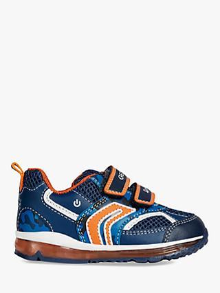 bc9c94ff1 Geox Children's Todo Riptape Light Up Shoes, Navy/Orange