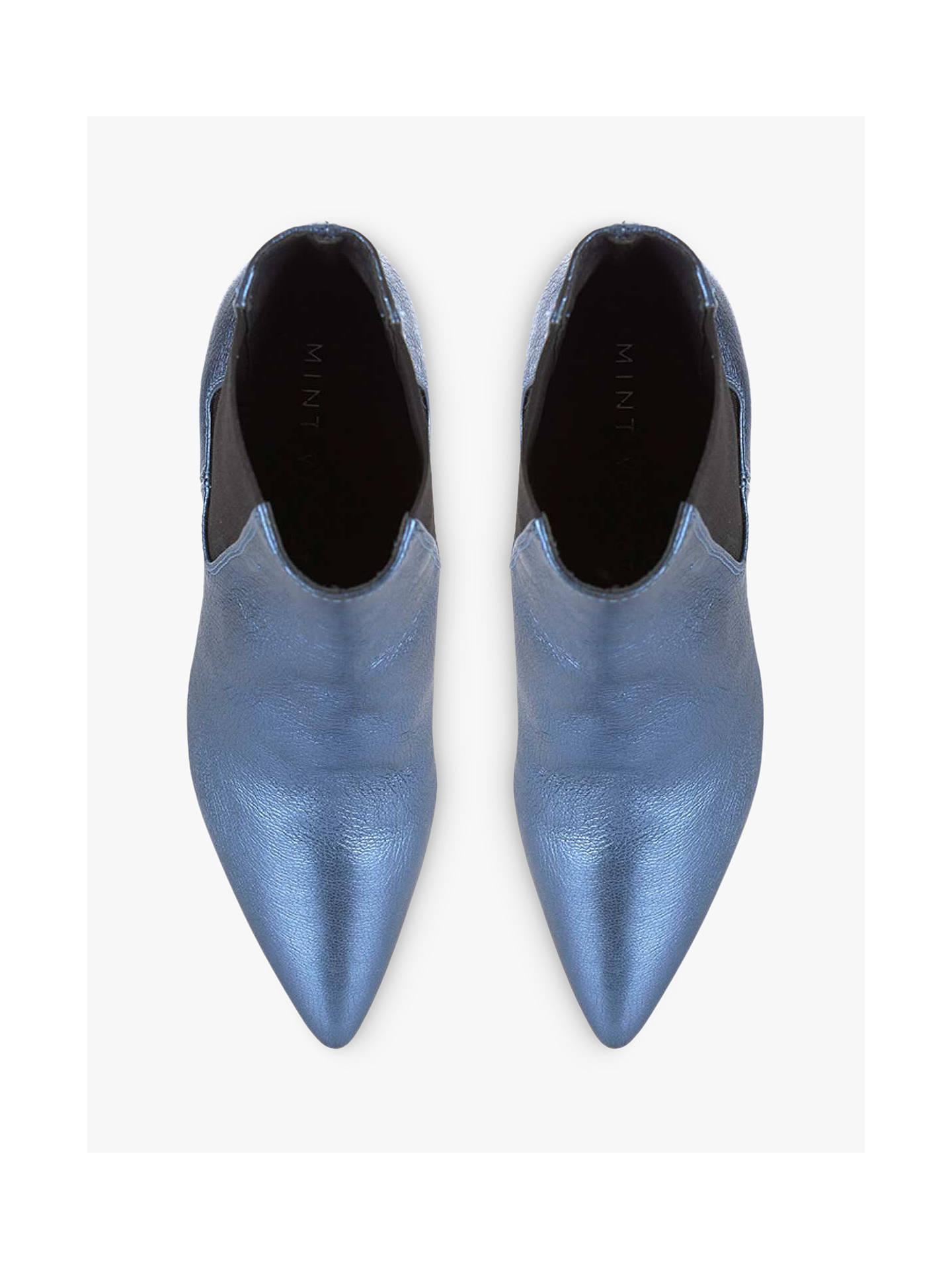 c37e57f29ad ... Buy Mint Velvet Zara Metallic Leather Stiletto Heel Ankle Boots, Blue,  5 Online at