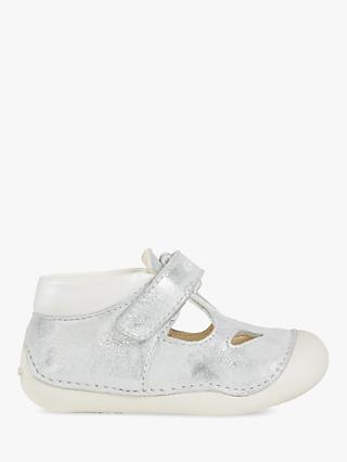 Geox Children's First Tutim Shoes, Silver/White