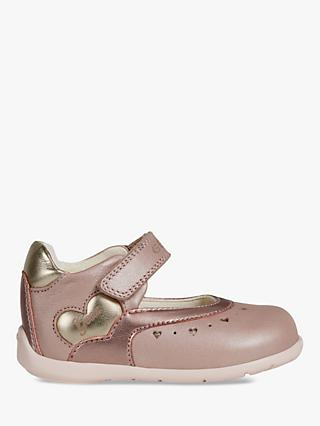 Geox Children's Kaytan Heart Riptape Mary Jane Shoes, Rose/Gold