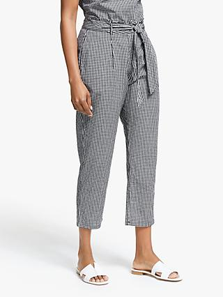 Collection WEEKEND by John Lewis Gingham Slim Fit Trousers, Black/White