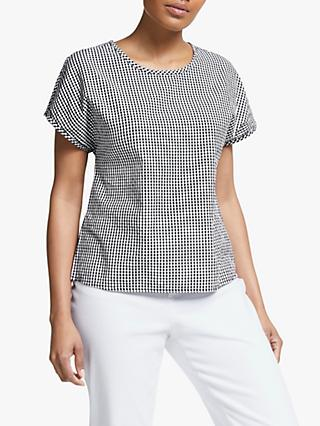 Collection WEEKEND by John Lewis Button Back Gingham Check Top, Black/White