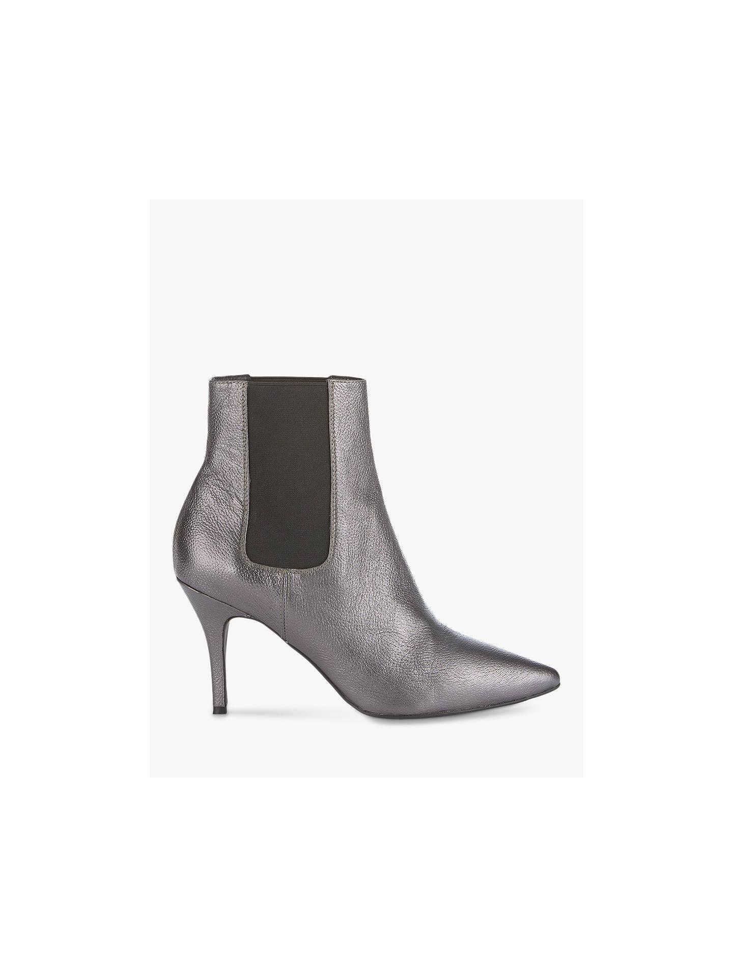 cf62bcb2272b3 Buy Mint Velvet Zara Metallic Leather Stiletto Heel Ankle Boots, Gunmetal,  3 Online at ...