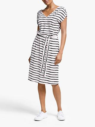 Collection WEEKEND by John Lewis Jersey Stripe Midi Dress, Black/Pink/White