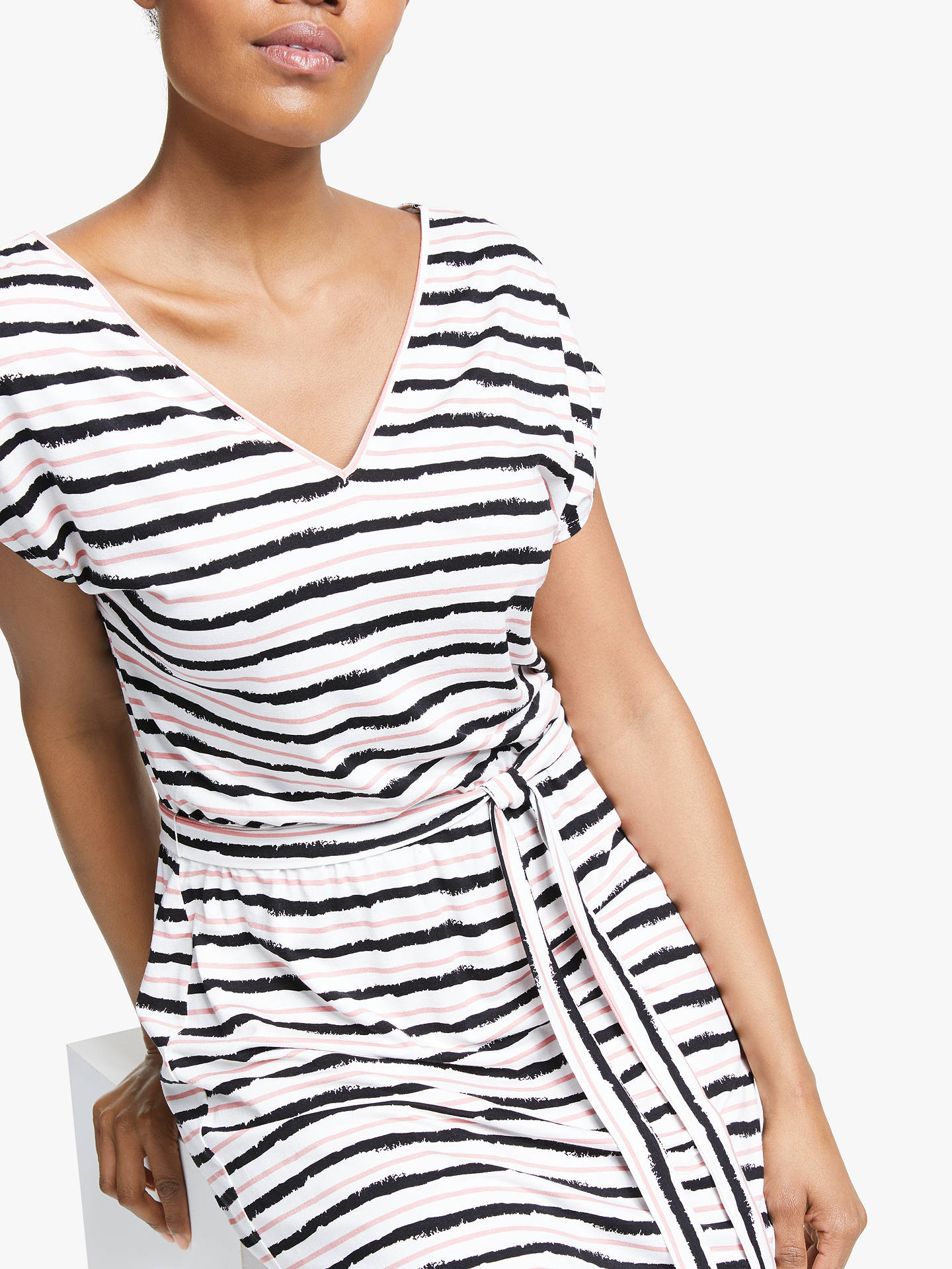 Buy Collection WEEKEND by John Lewis Jersey Stripe Midi Dress, Black/Pink/White, 16 Online at johnlewis.com