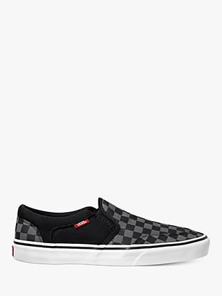 Vans Asher Checkboard Trainers, Black/Pewter