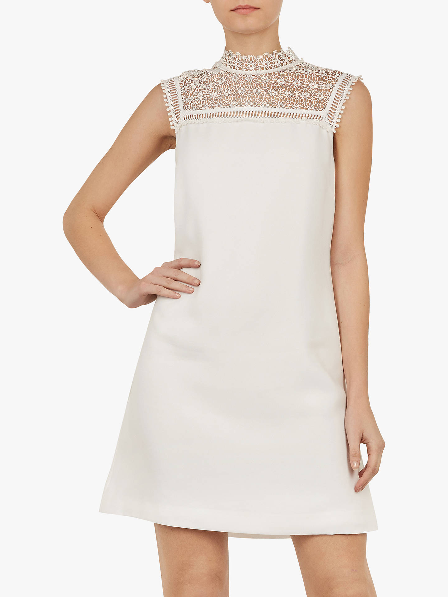 c3bee74b74f Buy Ted Baker Carsey Lace Yoke and Sleeve Tunic, Natural Ivory, XS Online  at ...