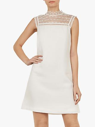 Ted Baker Carsey Lace Yoke and Sleeve Tunic, Natural Ivory