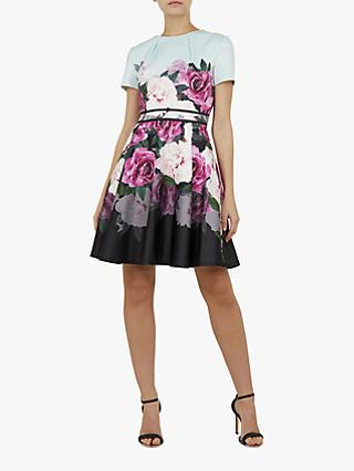 Ted Baker Wilmana Floral Skater Dress, Mint Green