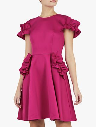 Ted Baker Luuciee Ruffle Detail Skater Dress, Deep Pink