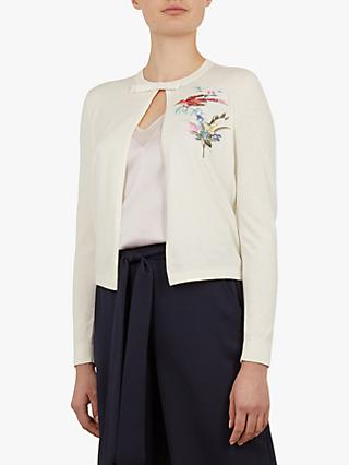 Ted Baker Inygen Fortune Embroidered Cardigan, Natural Ivory