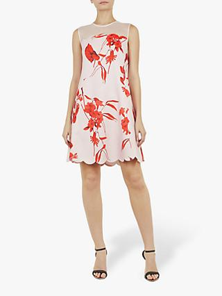 Ted Baker Jaazmin Fantasia Scallop Mini Dress, Pink/Multi