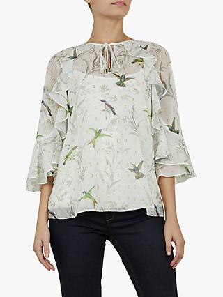 54969f4af13 Ted Baker Lassii White Fortune Neck Tie Top