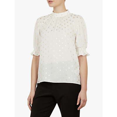 Ted Baker Jamiiee Polka Dot Top, White