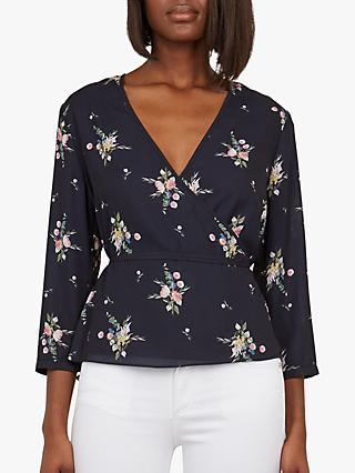Ted Baker Eviea Navy Flourish Wrap Top, Navy/Multi