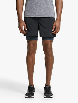 "Ronhill Stride Twin 5"" Running Shorts, All Black"