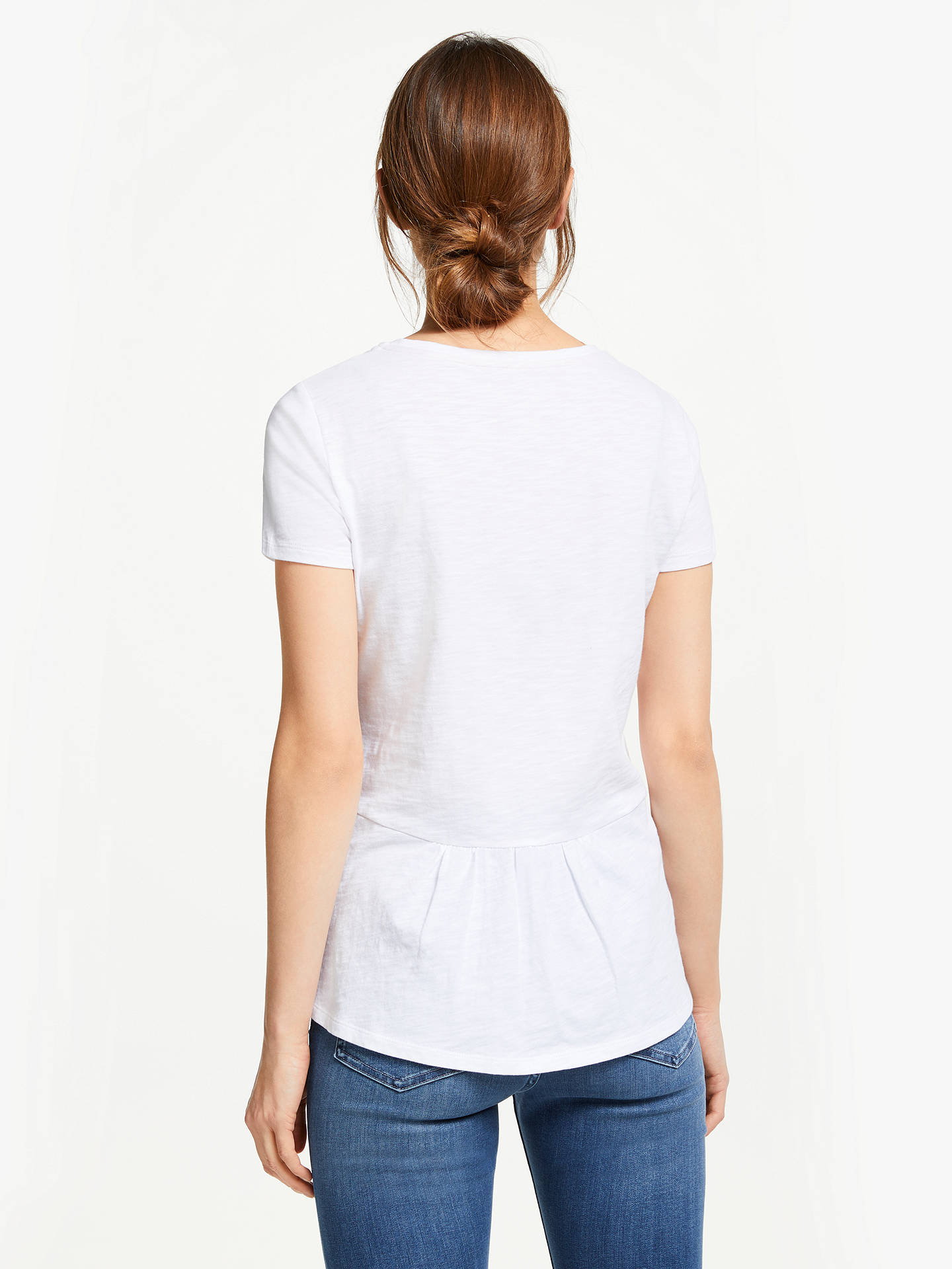 BuyBoden Cotton Back Detail T-Shirt, White, L Online at johnlewis.com