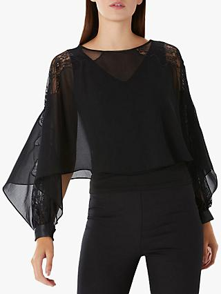 Coast Justine Lace Overlay Top, Black