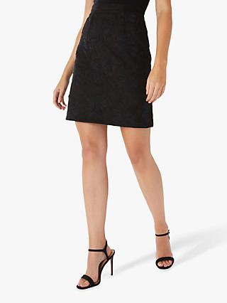 Coast Corded Suedette Skirt, Black