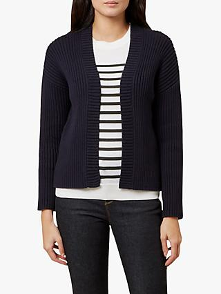 Hobbs Lola Cotton and Cashmere Cardigan, Navy