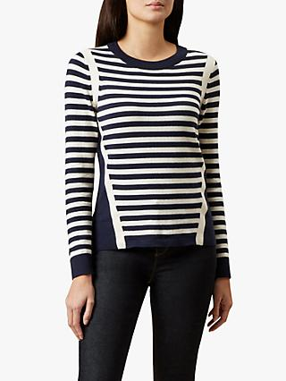 Hobbs Abbey Stripe Sweater, Navy/Ivory