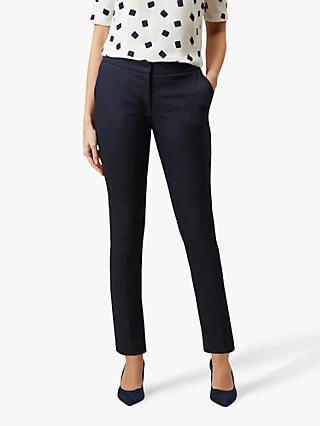 Hobbs Annie Check Trousers, Navy