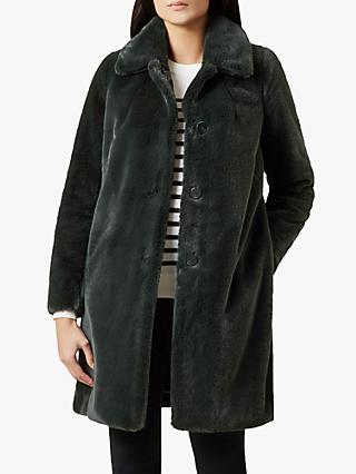 Hobbs Carron Faux Fur Coat, Dark Green