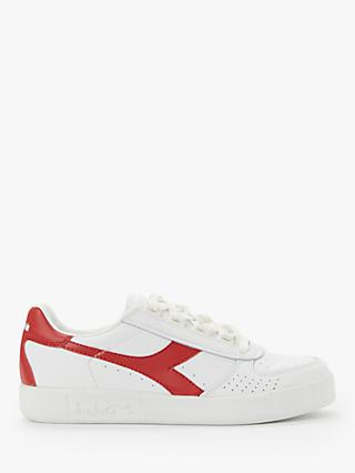 Diadora B.Elite Leather Trainers, White/Ferrari Red
