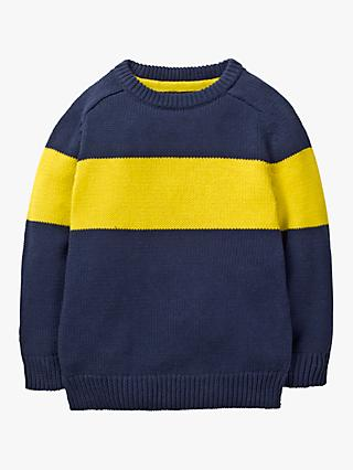 Mini Boden Boys' Colour Block Jumper, Starboard Blue