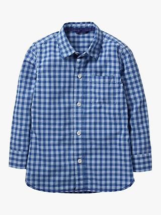 Mini Boden Boys' Dyed Check Shirt, Washed Blue Gingham